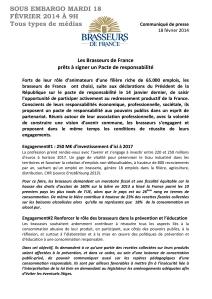 Communiqué de presse des Brasseurs de France du 18:02:14